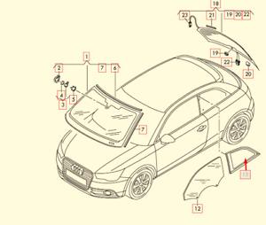Audi A1 8X1 Rear Right Side Quarter Window Glass 8X3845300A NVB NEW GENUINE 201