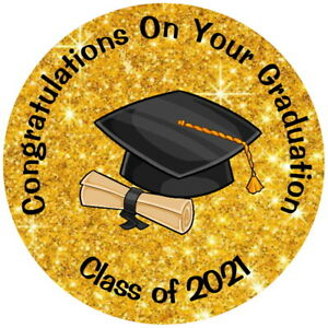 GOLD GLOSS SCHOOL LEAVERS GRADUATION  END OF TERM LABELS SWEET CONE STICKERS