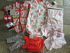 NEW LOT 14 NEWBORN BABY GIRL CLOTHING CARTERS SLEEPERS BLANKET BIBS+  FREE SHIP