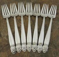 Holmes Edwards Danish Princess Set of 7 Salad Forks Silverplate Flatware Lot C