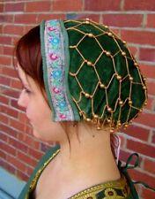 Edad Media Capucha perlenhaube Terciopelo Para Vestimenta Verde