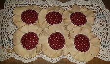 Handmade Primitive Americana Maroon  Fabric Flowers Bowl Fillers Set/6