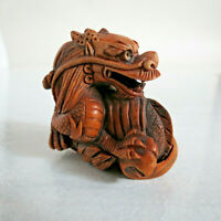 20th early century Japanese boxwood Netsuke Wave Dragon signed hand carved 1.65""