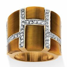 14K GOLD EMERALD CUT ACCENT TIGERS EYE GP BAND  RING SIZE 5 6 7 8 9 10