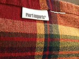 Pier 1 Table Runner EUC, Red, Gold, Green, Fringed Ends, 13x71