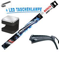 BOSCH AeroTwin Scheibenwischer Wischblätter  SET AR997S + Cuby LED Taschenlampe