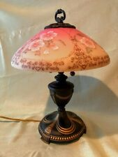 Fenton Art Glass Hand Painted Gold Accented Burmese Lamp