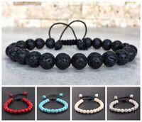 Hot Men Women Rock Lava Howlite Agate Bead Macrame Braided Adjustable Bracelets
