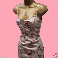 KAREN MILLEN Cream Gold Silk Bow & Jewel Wiggle Pencil Cocktail Dress 10 UK
