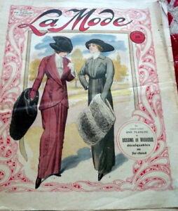 *Antique 1910s PARIS FASHION & SEWING PATTERN CATALOG LA MODE 1912