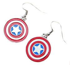 Marvel Superhero Super Hero Captain America Shield Dangle Earrings W/Gift Box