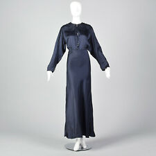 1202064022c XXL 1930s Navy Silk Long Sleeve Dress Formal Gown Evening Plus Size Volup  30s
