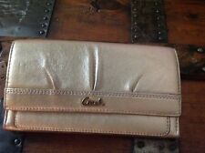 Coach Soho Pleated Leather Slim Envelope Wallet F 44624 Gold