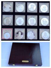 "insieme delle Monete 12 ""ECU"" 999 Argento fine Alpacca d'argento con la scatola"