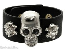 Hip Hop Gothic Fashion Black Leather Bracelet with Silver Bling Skull Pendants