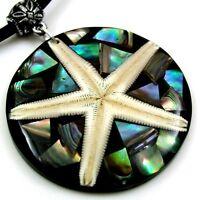 "Handmade Paua Abalone Shell Starfish Pendant 18"" necklace Women Jewelry AA242"