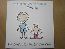 Personalised Handmade New Big Brother, New Baby Sister Card