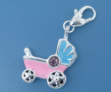 Bettelarmband Kinderwagen Baby Girl Boy Geburt Anhänger Karabiner Dangle #