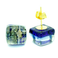 Murano Glass Stud Earrings Gold and Blue Handmade Venice