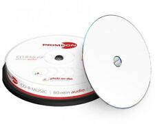 10 Primeon 2761111 Printable Blank Audio CD-R 52x 700MB 80mins Disc in Cakebox