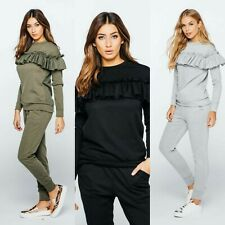Womens Ladies Ruched Puff Sleeve Tracksuit Top Bottom Lounge Wear Two Piece Set