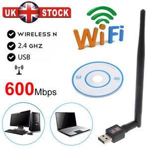600Mbps Wireless USB WiFi Adapter Dongle LAN 802.11/b/g/n 2.4Ghz Laptop PC