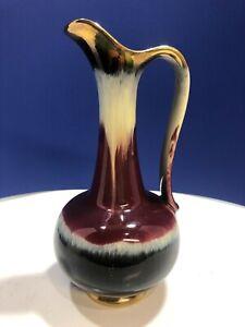 VTG German Mid Century Modern Drip Glaze Pottery Ewer Pitcher Vase