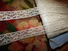 """3 yds Antique Vintage French Silver Metallic Insertion Lace Trim ~ 3/4"""" width"""