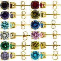 Sterling Silver 925 Yellow Gold Birthstone Stud Earrings Round Cut CZ Women Girl