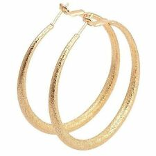 """Awesome 9K Yellow Gold Filled Frost Textured 2"""" Round Hoop Earrings"""