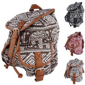 Elephant Cloth Backpack Oriental Vintage Style Fabric Denim Z9020