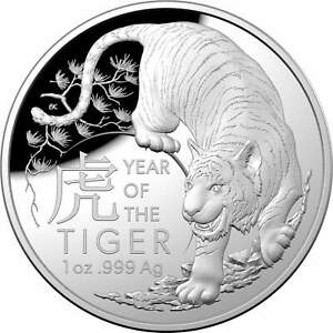 2022 $5 Lunar Year of the Tiger 1oz .999 Silver Domed Proof Coin - RAM