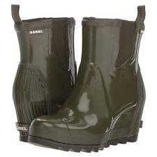 Sorel Women's Green Joan Wedge Chelsea Gloss Rain BOOTS Size 10