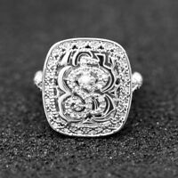 Vintage Rings for Women 925 Silver Round Cut White Sapphire Ring Size 6-10