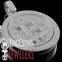 10K White Gold On Real Silver Bitcoin Currency Pendant Initial B Diamond Charm