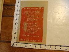 Vintage MARIONETTE Hand Bill: 1933 Robert & Edith Williams HOLLYWOOD CA