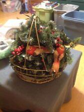 Christmas Floral Basket Decorative Centerpiece