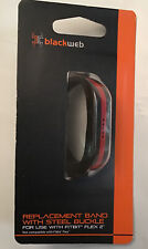 New Replacement Band W/ Steel Buckle Black & Red For Use With Fitbit Flex 2