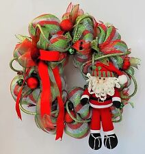SANTA CHRISTMAS WREATH DECO MESH RIBBONS ORNAMENTS BELLS XMAS HOLIDAY DECORATION