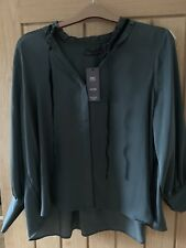 M & S MARKS AND SPENCER PETITE PRETTY DARK GREEN BLOUSE SIZE 18 BRAND NEW