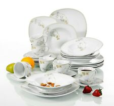 30-Pieces Porcelain Dinner Set Home Kitchen Tableware Soup Plate Cup Mugd Saucer