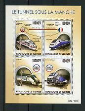 Guinea 2015 MNH Channel Euro Tunnel 4v M/S Sous La Manche TGV Trains Stamps