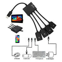 4 in 1 Micro USB Hub OTG Charging Cable Extension Adapter Android Samsung Black.