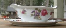 Sango China GRAVY BOAT w/UNDERPLATE  Made in Occupied Japan  Pink & Blue Flowers
