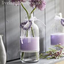 22.5 x 9cm Large Clear Glass Bottle W/ Lavender Heart & Lace Bow