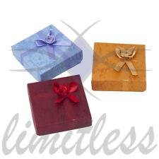 3pcs Multi Earring Boxes w/floral bow/ribbon bow Lavender/Dark Red/ Gold