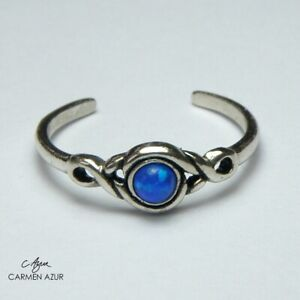 Solid 925 Sterling Silver Toe Ring Ocean Blue Stone Ladies New with Gift Bag