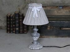 Chic Antique Tischlampe Lampe nordisch Shabby Grau gestreift Landhaus Vintage