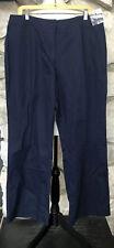 NWT TALBOTS 20W Petite Heritage Womens Linen Cotton Side Elastic Navy Pants 20WP