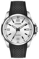Citizen Eco-Drive Men's AR Silver Tone Dial Black Strap 45mm Watch AW1150-07A
